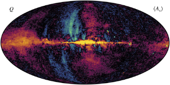 These are images of polarzed light from electrons travelling at relativistic speeds and interacting with the Galaxies magnetic fields. Credits: Svalheim et al. BeyondPlanck XIV. Polarized foreground emission between 30 and 70GHz