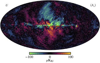 These are images of polarized light from electrons travelling at relativistic speeds and interacting with the Galaxies magnetic fields. Credits: Svalheim et al., BeyondPlanck XIV. Polarized foreground emission between 30 and 70GHz