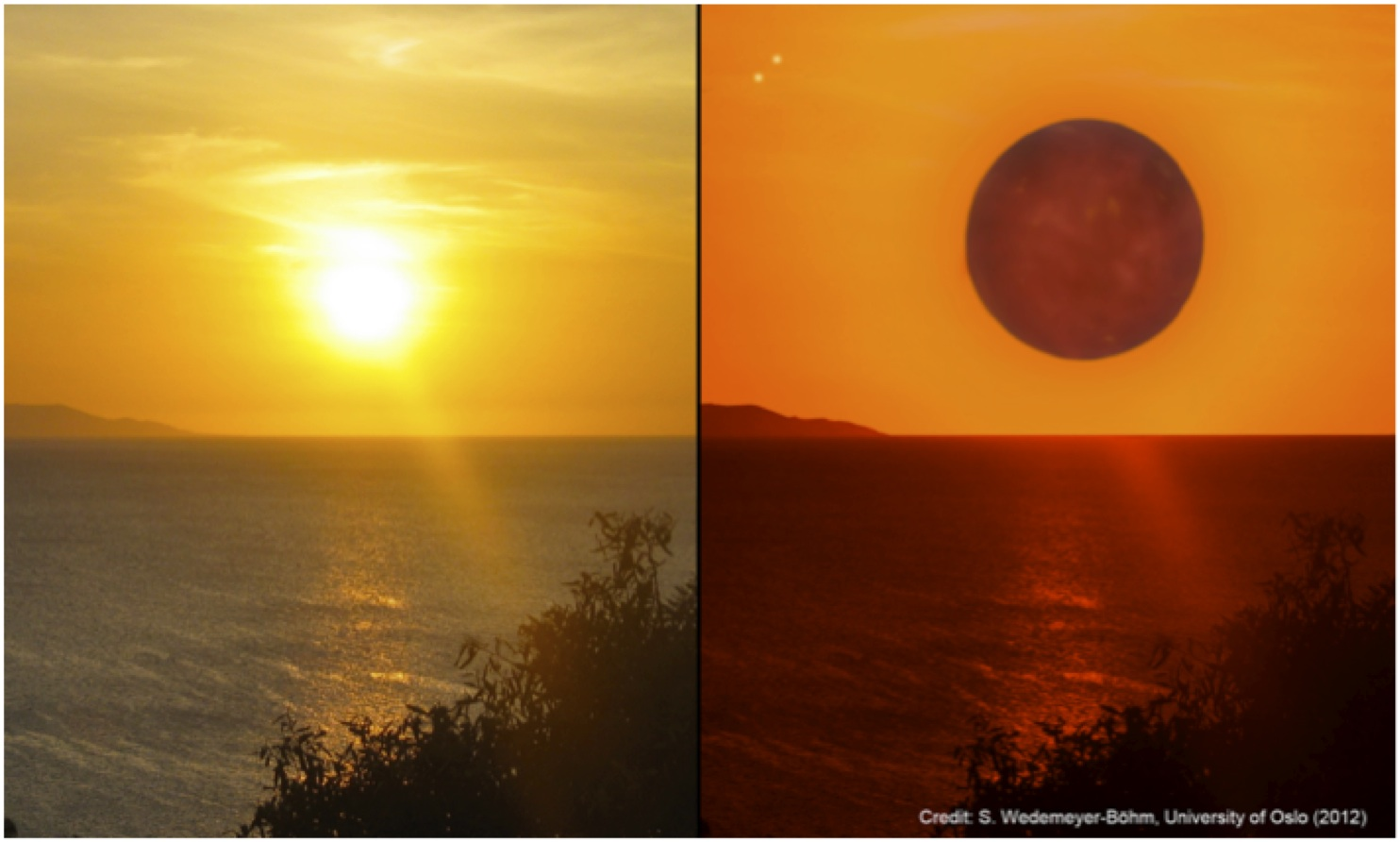 The Sun seen from Earth (left) and an impression how the red host star could look from the surface of the planet Gliese 667Cc.