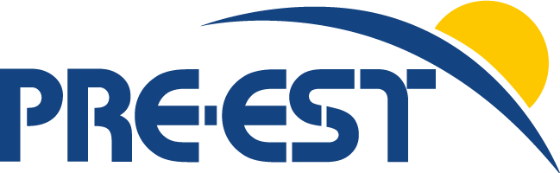 "logo with text ""PRE EST"" and a yellow circle"