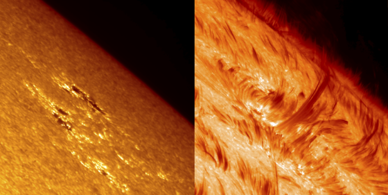 Satellite images of the Sun's surface and atmosphere