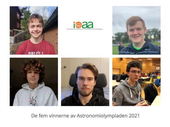 Bilde collage av fem unge gutter, vinnerne av årets astronomiolympiade