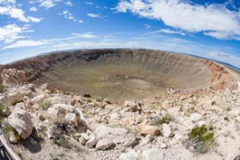 The famous Barringer meteor crater in Arizona, which was created by an impact about 50 000 years ago. Photo: Colourbox