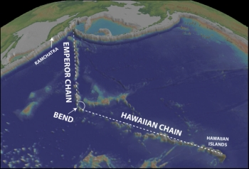 The Hawaiian-Emperor seamount chain. Image: Google Earth