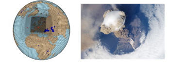 Left: Output grid of the Variable CESM model, sequentially increasing in resolution from ~111 km to ~14 km over Europe/ North Atlantic. (©Pardeep Pall) Right: Sarychev volcano eruption on June 12, 2009 as viewed from the International Space Station