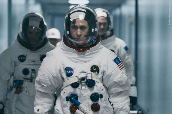 Ryan Gosling in astronaut outfit as Neil Armstrong in the movie First Man.