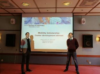 Marius and Alexander sharing their experience from applying and receiving Mobility Scholarship from the Norwegian research council. This was presented at the Norwegian PhD School of Pharmacy gathering in Holmenfjord Hotell in Asker, June 21st, 2017. Left: Marius (LIPCHEM-group), Right: Alexander (SYNFAS-group)