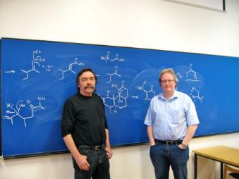 In June 2010, professor Thomas Hudlicky from Brock University gave a course in Natural Product synthesis at the University of Oslo. Here he and Trond Vidar poses for the camera.