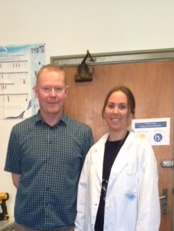 Trond (from company) and Marthe in our laboratory, performing test extractions together.