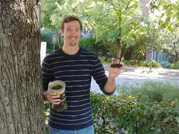 Christian Winther Wold holding a chaga