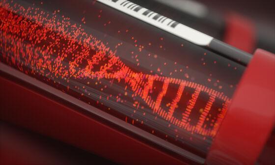 Illustrasjon av blodprøve med DNA-helix