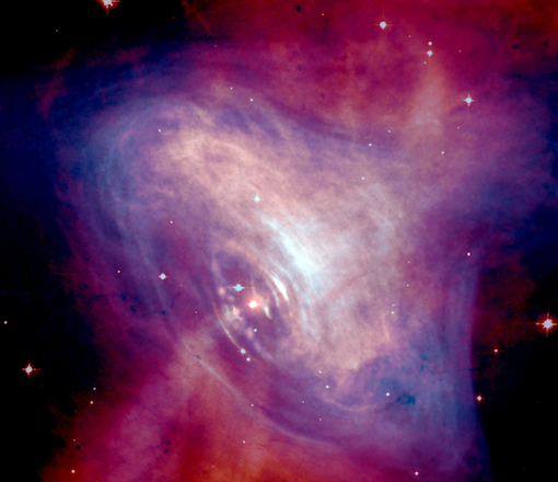 Combined X-Ray and Optical Images of the Crab Nebula. From the Hubble telescope, NASA