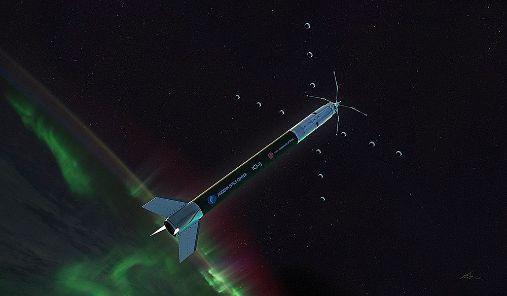 Illustrasjon av ICI-5-raketten som flyr gjennom nordlys