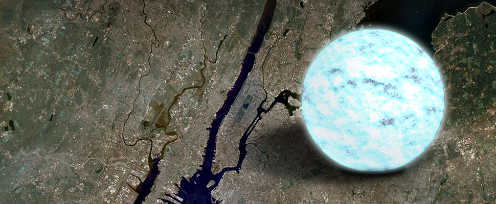 Nøytronstjerne sammenliknet med Manhattan. Foto: NASA's Goddard Space Flight Center