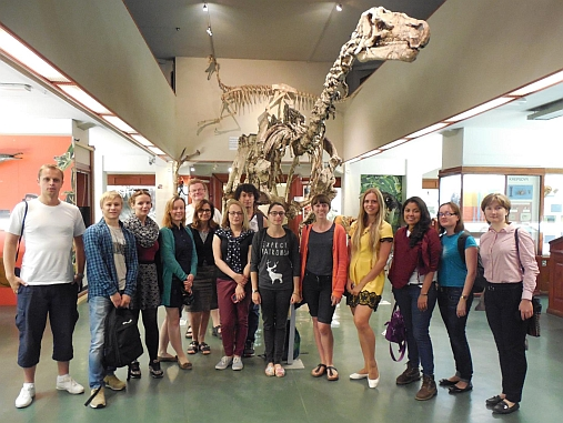 The 2015 Summer school group at the Natural History Museum with course leader Dr Carmen Gaina and Prof Hans Arne Nakrem. Photo: Aliaksei Patonia.