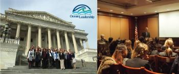 Caption: Left, group photo of the 2015 MGLS participants at Capitol Hill. Right, Senator Whitehouse delivering his speech o MGLS participants. Photo: Charna Meth, Consortium for Ocean Leadership.