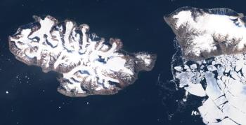 Glaciers and fjord ice in Northern Greenland observed by the Sentinel-2 satellite. Photo: Copernicus/ESA