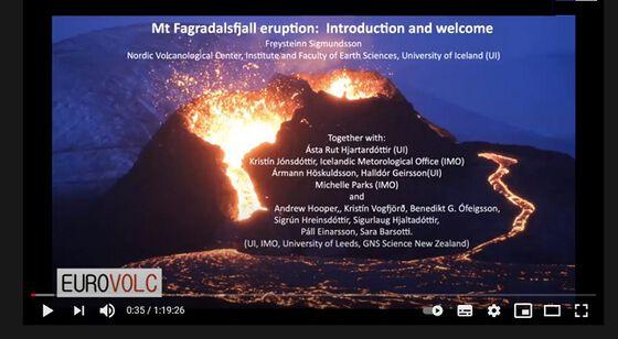 Skjermdump: Mt Fagradalsfjell utbrotet på Iceland:Mt Fagradalsfjell utbrotet: Introduksjon og velkommen til webinar, juni2021.