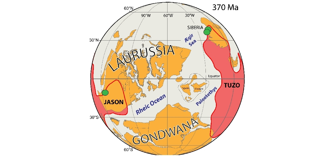 The globe shows a reconstruction of the continents in Late Devonian where Laurussia (including North America, Greenland, Scandinavia & England) was separated from Gondwana (South America) by the Rheic Ocean, and Siberia by the Ægir Sea. These continents are positioned in latitude from paleomagnetic data but their longitude is calibrated in such a way that kimberlites (green circles) fall directly above the plume generation zones in the deep mantle. Figure: T.H. Torsvik/CEED.