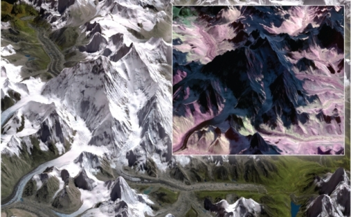 Image of Mount Everest and the Khumbu icefall (left) in a green-red-near infrared ASTER satellite image. Snow and ice appear white, as also humans see it. Inset to the right: Part of the mountain and ice fall as seen with a satellite image that captures infrared light that show snow and ice in dark colours. Figure: A. Kääb.