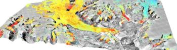 3D visualation in research: A 3D representation of the glacier elevation changes around Daugaard Jensen glacier from 1987 to 2014. The image is the 1987 orthophoto and the elevation change color scale ranges from ­1 to 0.5 meters per year. Data and differences as described in Scientific Data (Korsgaard, Nuth et. al. 2016)