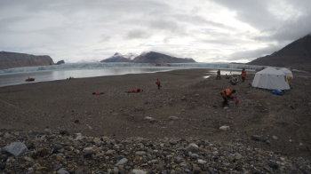 Kronebreen, Svalbard: Field Camp is settled in preparation for the 2 week campaign in August 2016. The main goal of the campaign and project was to calibrate passive seismic and acoustic instruments to quantify dynamic glacier ice loss. Photo: Christopher Nuth
