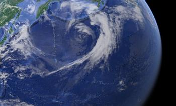 The Hawaiian-Emperor Bend:This picture taken ofsatelitte showthe bend as a small pattern on the surface. Photo: Google Earth, NOAA, US, NGA; CEBCO; Landsat / Copernicus