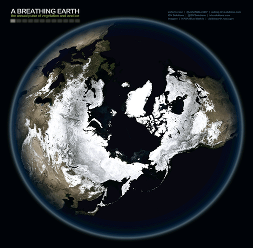The Earth: 'Blue Marble' NASA. See animation. Image (and animation): John Nelson (IDV Solutions).
