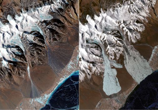 The ICEMASS project analysed glacier avalanches in Tibet, with satellite images showing before (left) and after (right) the events. Image credit - Contains modified Copernicus Sentinel data (2019)/processed by A. Kääb, Department of Geosciences, University of Oslo, 2019