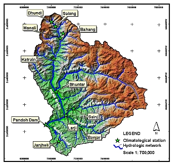 Map: The map show the Beas basin up to the Pandoh dam. Illustration: Project.