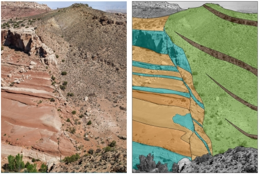 COPASS – CO2 Seal and Bypass Project. The Bartlett Fault, Utah. The fault juxtaposes the Entrada and Morrison formations, and has partially sealed in the CO2-charged groundwater that migrated through the porous sandstones of the Entrada Formation. Photo/Illustration: Ivar Midtkandal