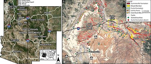Fig. 1 – The COTEC project will mainly focus on the Little Grand Wash Fault south of Green River, Utah, USA (see yellow square), in the vicinity of the San Rafael Swell Monocline (Modified from Zuchuat et al. 2019a).