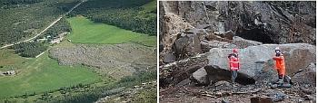 Left: Debris flow triggered by a rock-slide from a permafrost rock wall in Signaldalen, Troms county. Right: Rock fall blocking a road in southern Norway. Photo: Celine Steiger, UiO & Jan Otto Larsen, Norwegian Road Adminstration