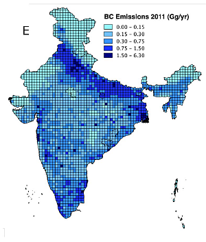 Black Carbon Emission Inventory for India. Figure: HyCAMP-Project, GEO, University of Oslo