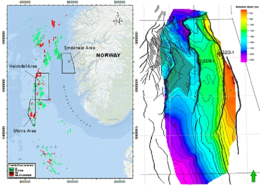 Figure: Map showing three potential CO2 storage sites of Smeaheia, Heimdal and Utsira in the North Sea (left). The depth map of the Sognefjord Formation (the main sandstone reservoir in the Smeaheia area, Source: Gassnova) based on a combination of the low density 2D seismic and high density 3D seismic interpretations (right).
