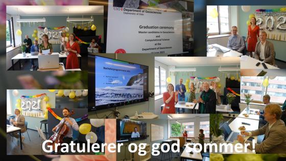 Fotocollage: Digitale avslutningsseremonifor studenter som avslutter BSc og MSc programmene ved Institutt for geofag, UiO sommeren 2020. Markeringen var fredag 26. juni via Zoom. Foto: Tjoflot