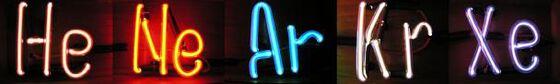 Noble gasses: Helium (He), Neon (Ne), Argon (Ar), Krypton (Kr), Xenon (Xe); Periodic table.