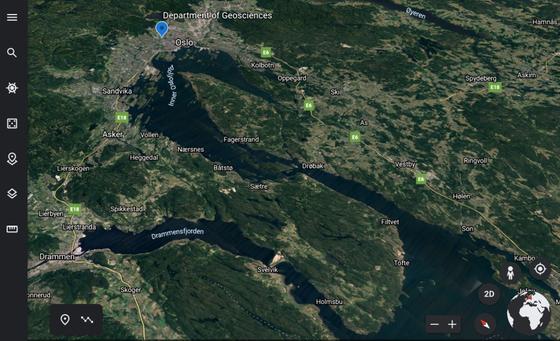 """Oslo sett av Google Earth; ein """"geobrowser"""" som kan gjemange moglegheiter i klasserommet.Illustrasjon: Satellittbilete/Google"""