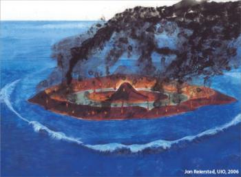 Då meteoritten slo ned påhavbotnen i Barensthavet. Illustrasjon: Jon Reierstad/UiO/2006