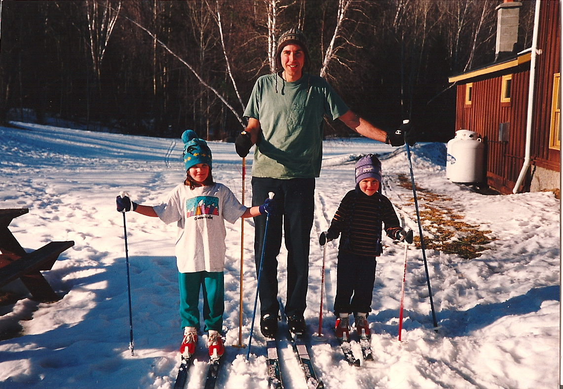 Dad, brother and Annie, spring skiing!