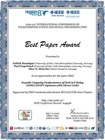 Diploma for best paper award