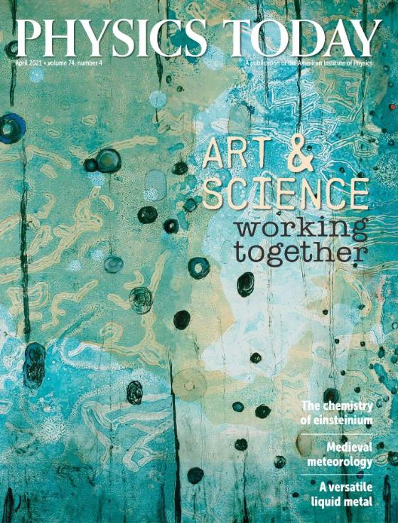 """Green-blue background with darker dots. At the top white text with """"Physics today"""", on the right side in the middle black text saying """"Art & science working together"""", more white text in the bottom right corner."""