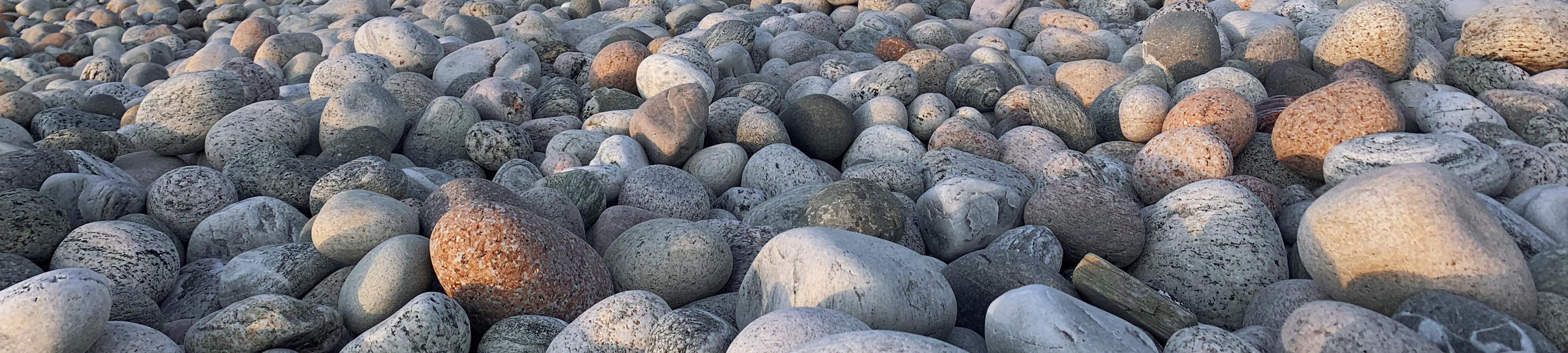 Round boulders in many colours.