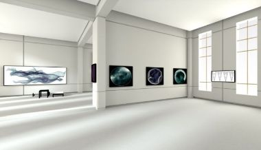 A virtual gallery room with five images visible on the white walls.