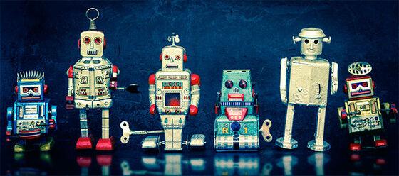 roboter står på linje