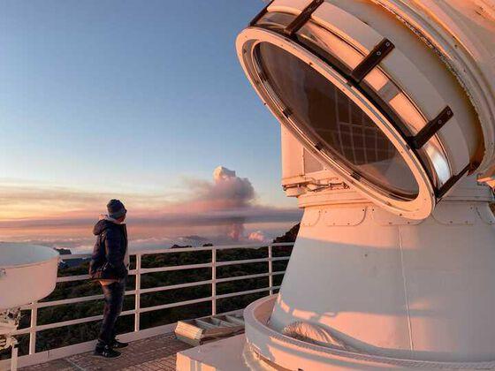 Vulkanutbrudd sett fra Det svenske solteleskopet.