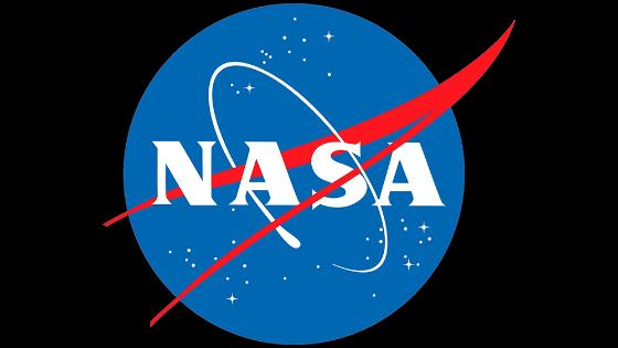 The logo of NASA: Blue, red and white.